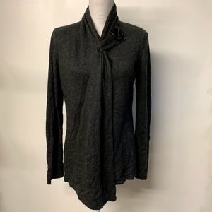 Soft Surroundings Gray Wool Cashmere Wrap Cardigan